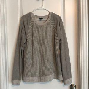 JCrew cable Knit Sweatshirt in oatmeal XL